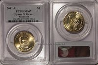 PCGS MS67 2011-P Ulysses S Grant Presidential Dollar POS A Bunting Insert