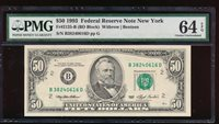 Fr. 2125-B 1993 $50 Federal Reserve Note New York PMG 64EPQ B38240616D