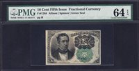 US 10c Fractional Currency Note FR 1264 PMG 64 EPQ V Ch CU