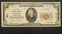 1929 $20 Dollars The First National Bank Of INDIANA Pennsylvania Note Currency