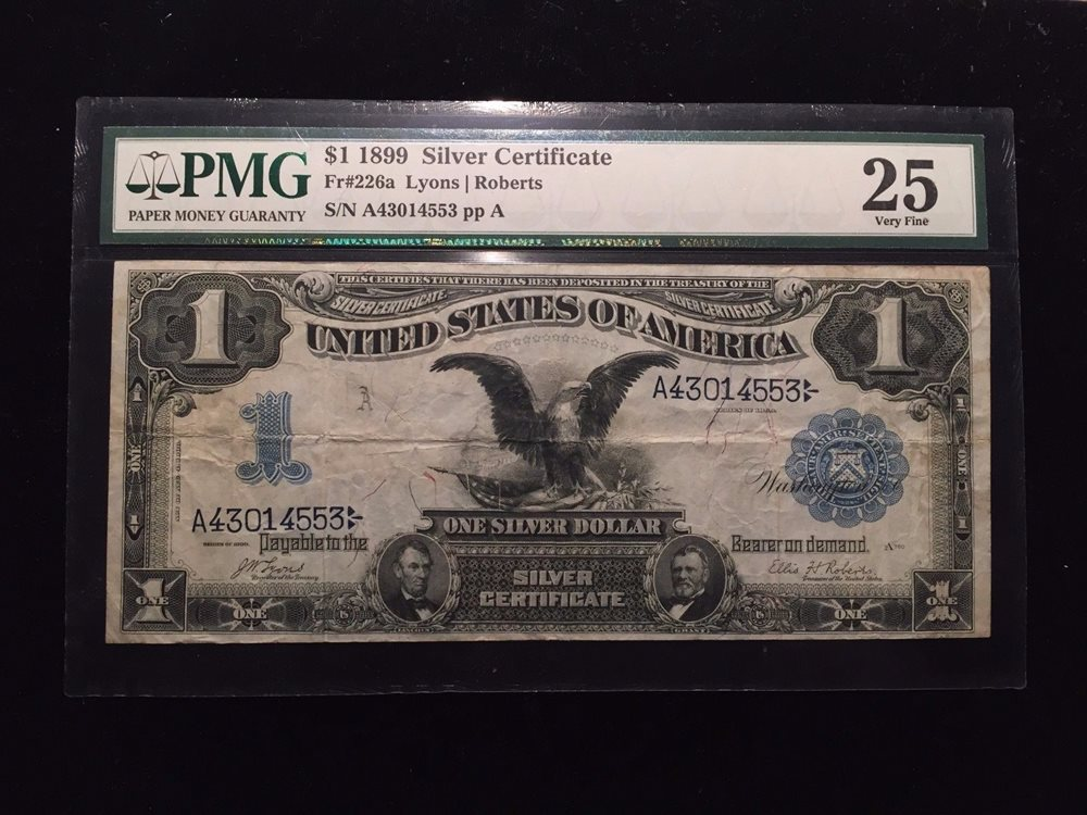 1899 1 Black Eagle One Dollar Silver Certificate Pmg V