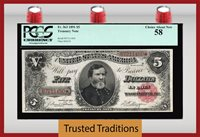 TT FR 363 1891 $5 TREASURY NOTE RED SEAL OPEN BACK PCGS 58 CHOICE ABOUT NEW