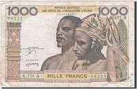 1000 Francs 1961-1965 West African States Banknote, Undated, Km:203bn