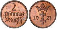 DANZIG. 1923 AE 2 Pfennig. PCGS PR65RB KM 141; J D3.