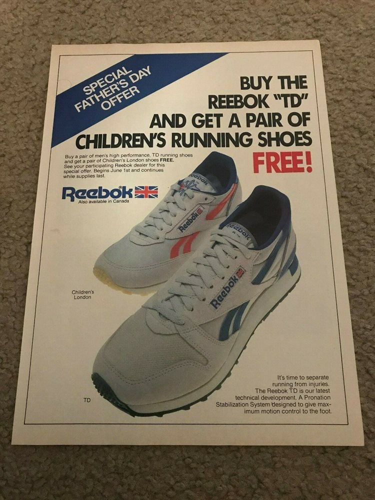 Vintage 1983 REEBOK TD LONDON Running Shoes Poster Print Ad 1980s RARE