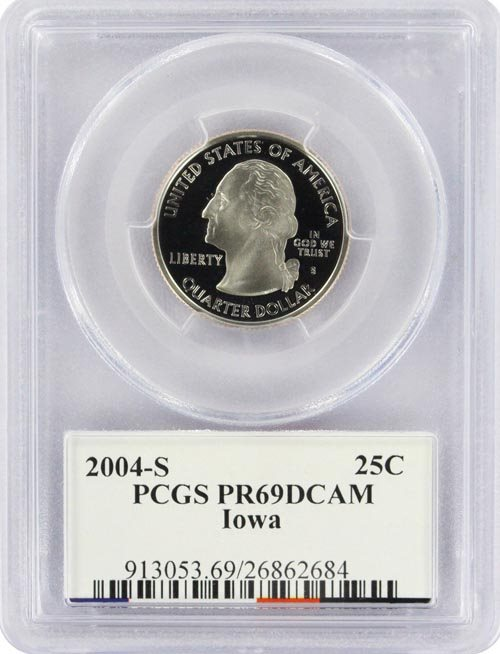 2004-S 25c Iowa SILVER State Flag Label Quarter Proof Coin PCGS PR70 DCAM