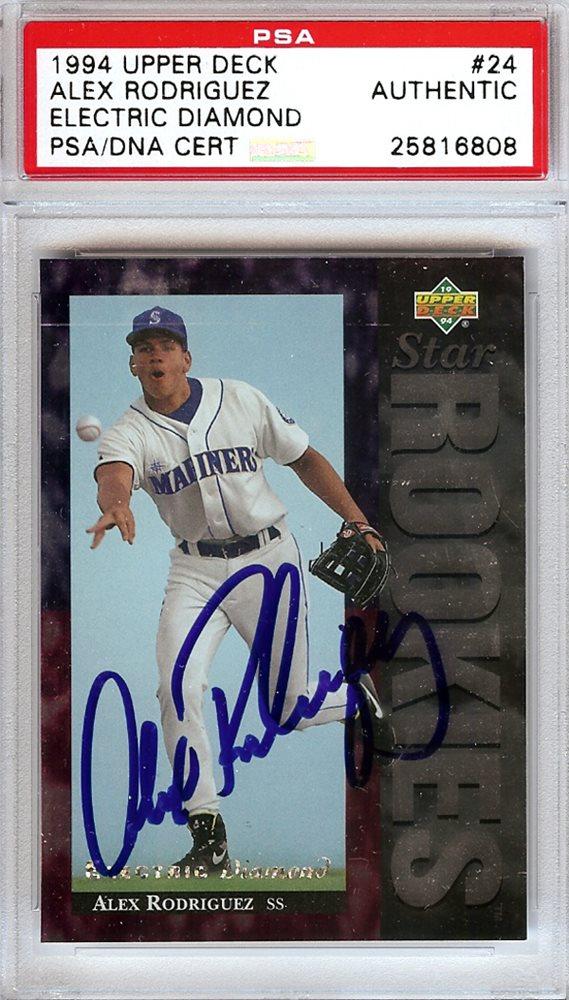 Alex Rodriguez Autographed 1994 Upper Deck Rookie Card 24 Seattle Mariners Rookie Era Psadna 25816808alex Rodriguez Autographed 1994 Upper Deck