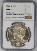 1922 D $1 PEACE DOLLAR NGC CERTIFIED MS 63 MINT STATE GEM TONED PQ (027)