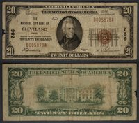 Cleveland OH $20 1929 T-1 National Bank Note Ch #786 National City Bank Fine