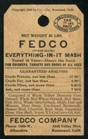 SRS CA FET11 Pre-1947 50 lbs. black red. Everything In It Mash. Fedco Company. used, VF, tear