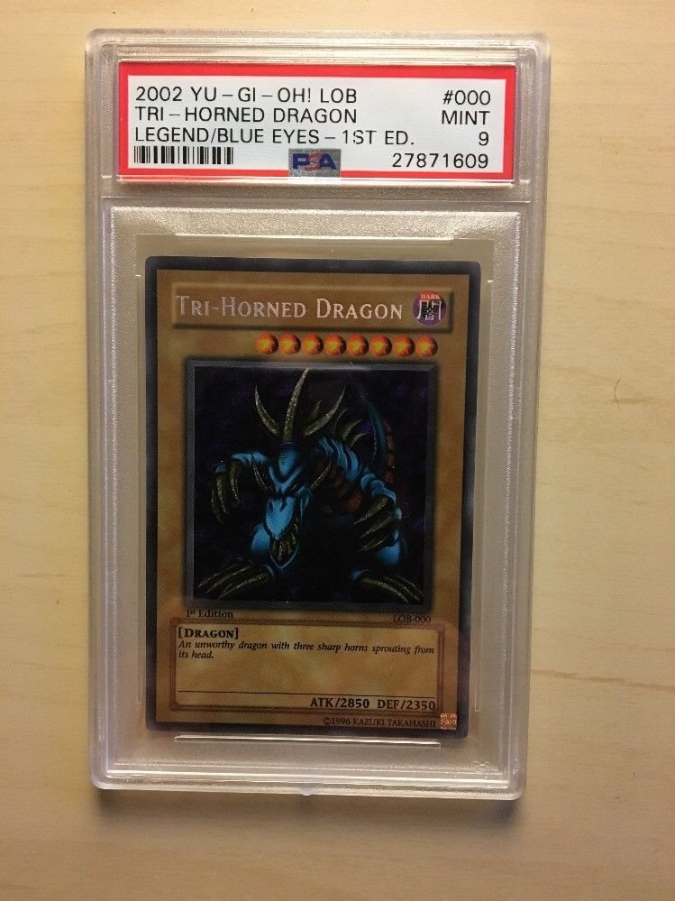 Yugioh Tri Horned Dragon LOB-000 Unlimited Edition Secret Rare Near Mint