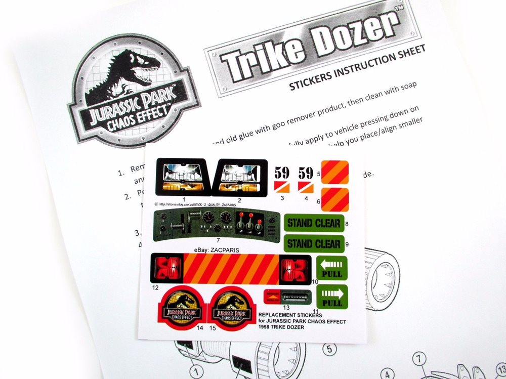 replacement stickers for kenner jurassic park chaos eff