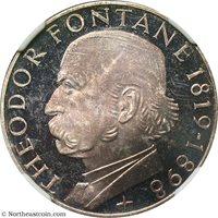 1969-G Germany Federal Republic 5 Mark .625 Theodore Fontane