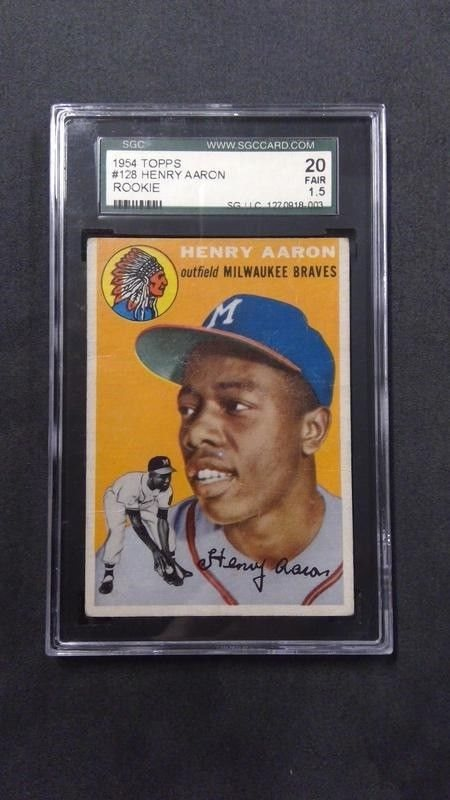 1954 Topps 128 Hank Aaron Rookie Card Rc Hofer Milwaukee Braves 44 Sgc 20 Fr