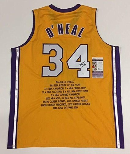 SHAQUILLE O'NEAL SHAQ AUTOGRAPHED LAKERS STAT JERSEY wi