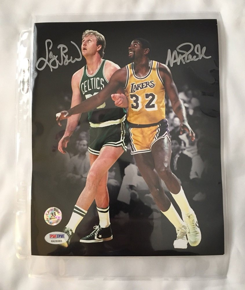 e4a7322b08379 Larry Bird Celtics Magic Johnson Lakers Signed AUTOGRAPH 8 x 10 Photo PSA  DNA
