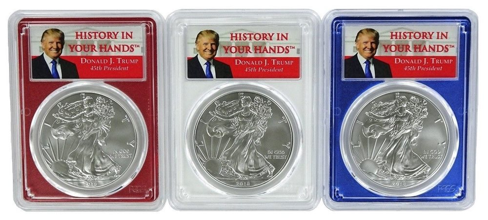 2017 AMERICAN SILVER EAGLE $1  PCGS MS70 FS  DONALD TRUMP HISTORY IN YOUR HANDS