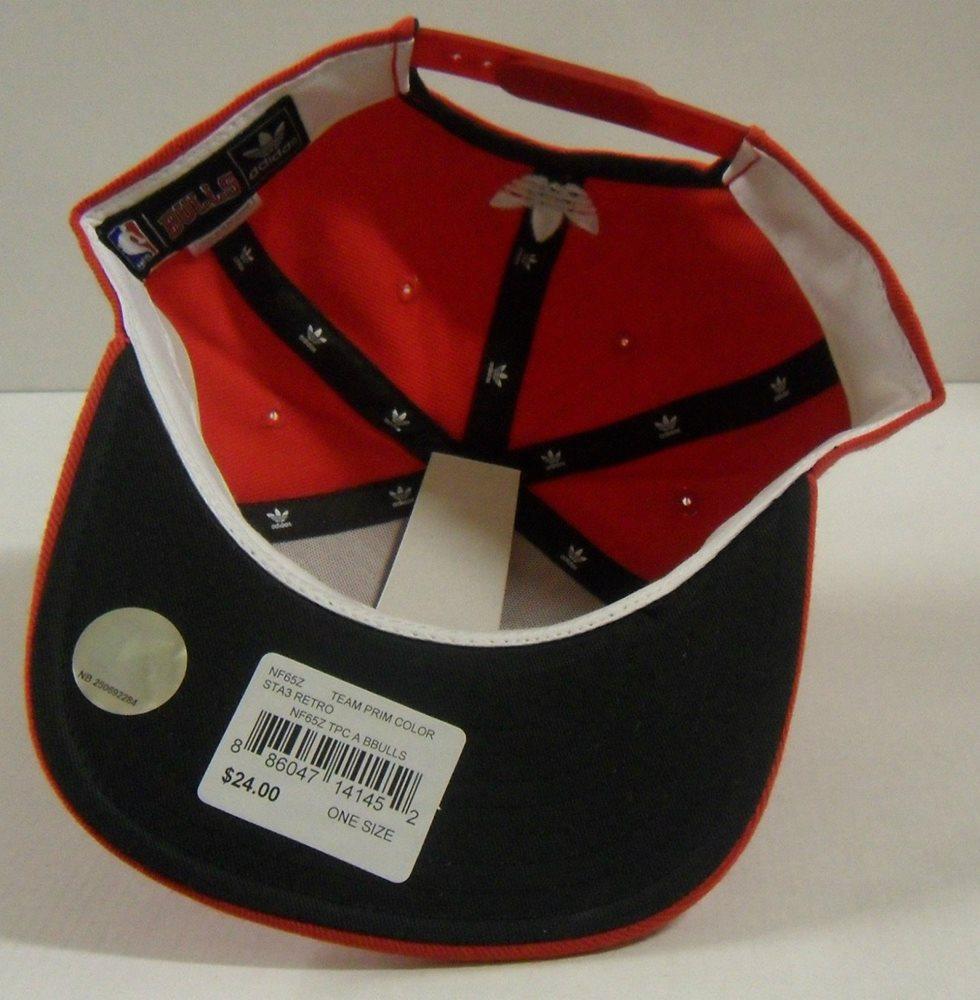 53c4f2065e4 NBA Chicago Bulls Adidas Retro Snap-Back Cap Hat OSFA N