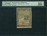 18 Pence Pennsylvania October 25, 1775 186 PMG 55EPQ $245
