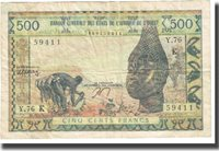 500 Francs West African States Banknote, Km:702kn