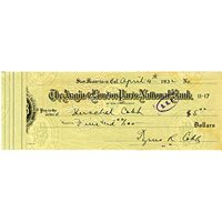 Ty Cobb Autographed 1931 Check JSA Authenticated