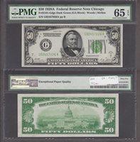 Fr#2101-G $50 1928A G02457026A 65EPQ A blazing Gem Type note on Chicago
