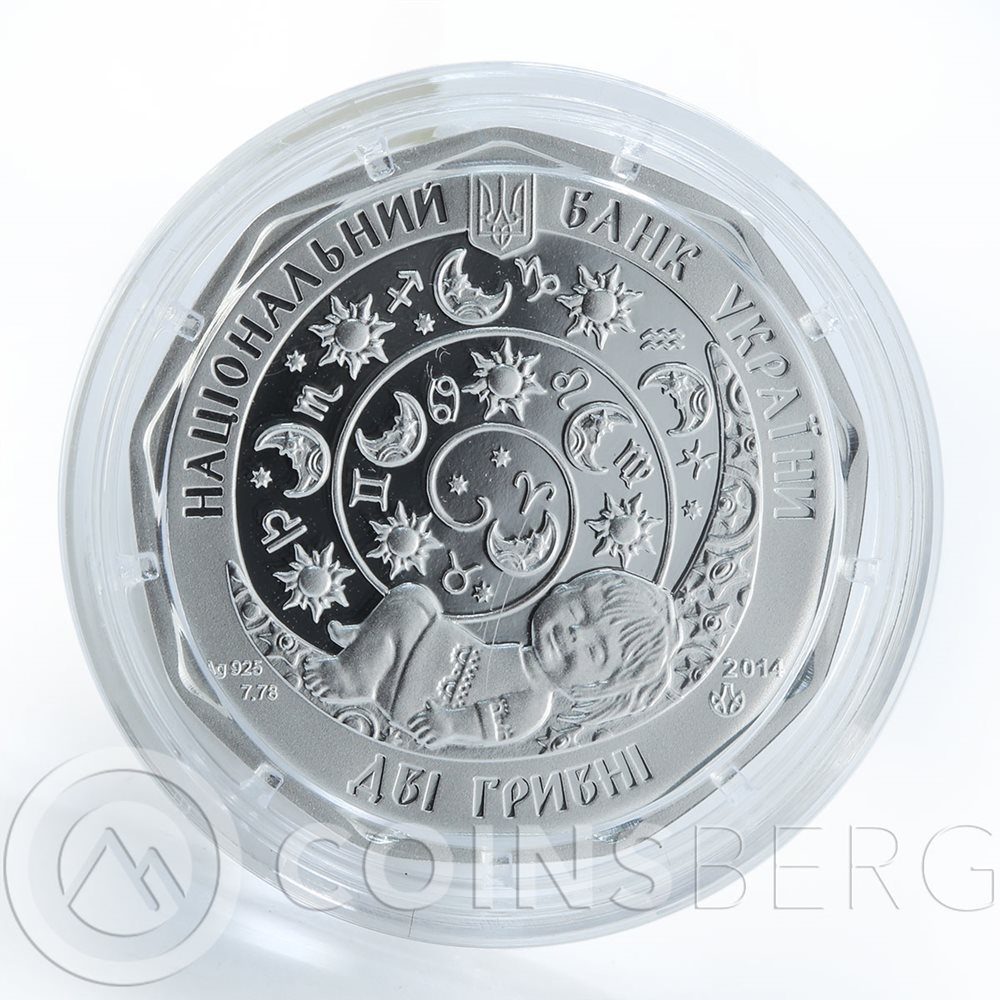 Ukraine Silver coin: Leo 2 UAH 2014 - Children/'s Zodiac Little Leo