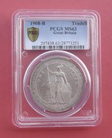 Great Britain 1908-B Britannia standing Trade Dollar Silver Coin PCGS MS 63