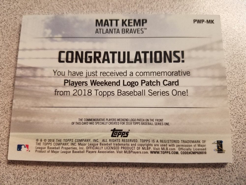 2018 TOPPS MATT KEMP PLAYERS WEEKEND LOGO PATCH RELIC C c874b1c362f