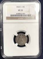 1865 S Seated Dime VF 25 NGC