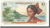10 Nouveaux Francs Undated French Antilles Banknote, Km:5a