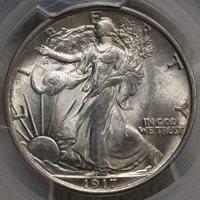 1917 Walking Liberty Half Dollar, Original Choice BU Coin
