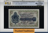 1 Pound 1938 Falkland Islands Government King George Vi Pcgs 66 Ppq Gem!