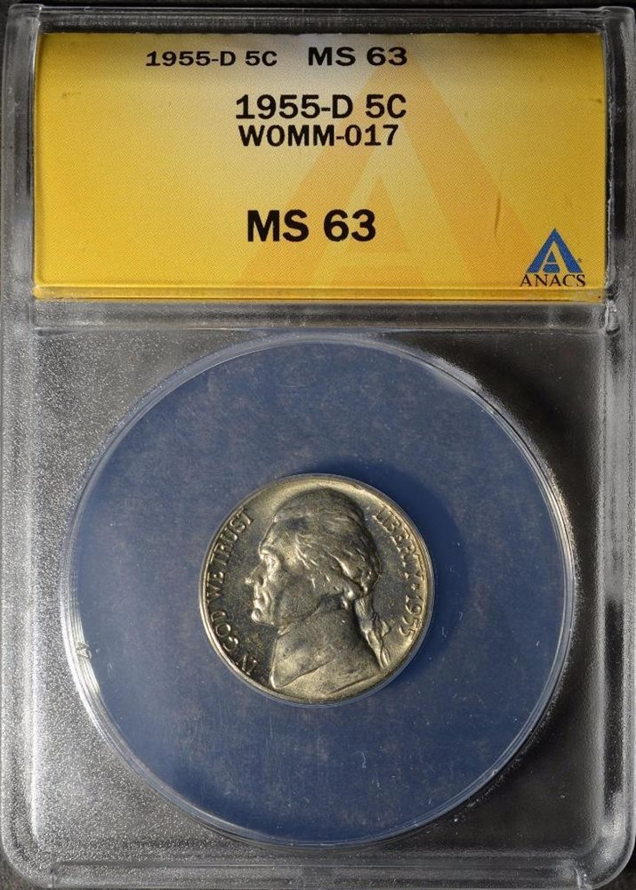 1955-D/S Jefferson Nickel ANACS MS63 #224 Error D over S Rare Coin SHIPS  FREE