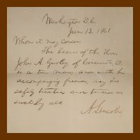 Abraham Lincoln, Autograph Letter, Signed