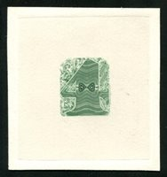 Turner T-13 1868 4 oz. green green die essay, india on 65x69mm card, VF