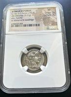Roman Republic NGC XF Silver Denarius Vibius Pansa 90 B.C. Apollo & Minerva RARE