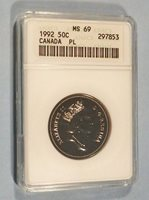 1992 ANACS MS69 PL CANADA 50c DUAL DATED 1867-1992 HALF