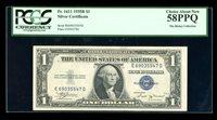 $1 1935-B Silver Vinson ED Block Fr. 1611 PCGS 58 PPQ Serial E69035547D