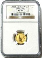 2009 P GOLD AUSTRALIA $15 KANGAROO 1/10 OZ COIN NGC MINT STATE 70