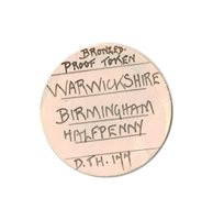 GREAT BRITAIN. Warwickshire, Birmingham. 1793 CU Halfpenny Token. PCGS MS64BN (Brown). Barracks / Coat of arms. D & H 177.Includes original collector's ticket noting purchase from Spink in 1942.Please use this link to verify the PCGS certificatio