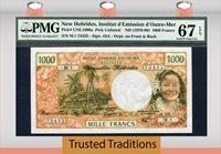 1000 Francs South Pacific Pk Unl1000a 1970-80 New Hebrides Pmg 67 Epq Superb Gem