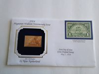 22 KT Gold Replica US Stamp 1924 1 cent New Netherland