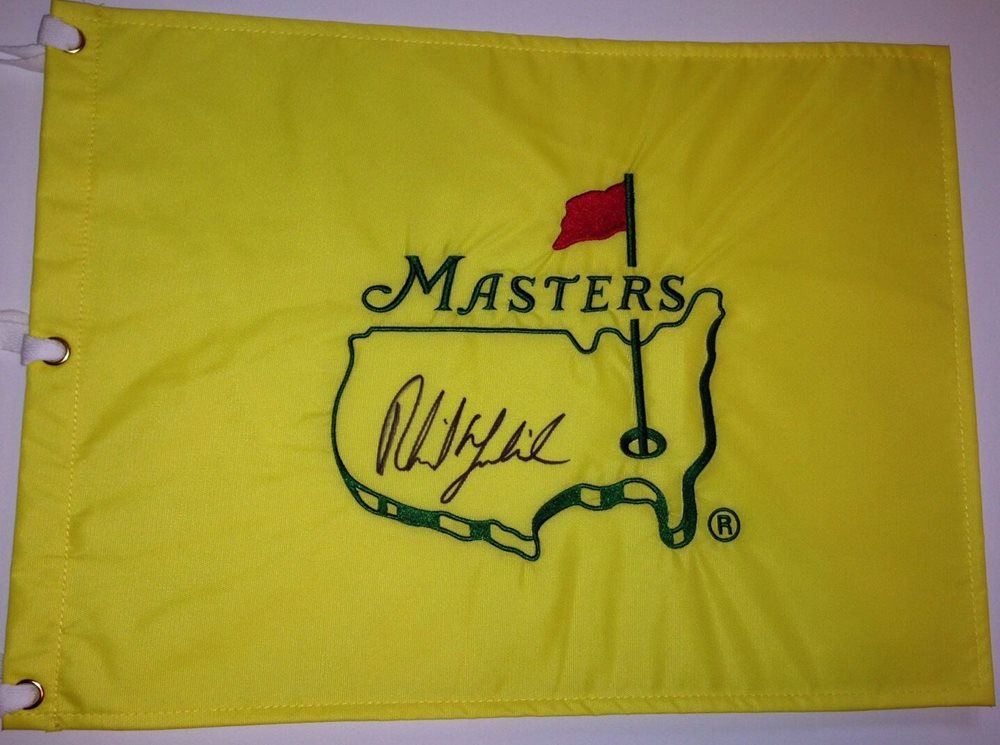 57b519219ac Phil Mickelson signed Masters flag undated augusta nati