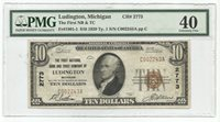 $10 National Currency 1929-Type 1 Ch#2773 1st NB & TC of Ludington, MI - PMG 40