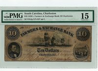 1850's $10 Farmer's Exchange Bank Charleston, SC Choice Fine 15 -Still Nice