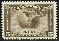 Canada #C2 - 5c Winged Globe AirmailStunning Quality StampGreat Centering - Fresh Lightly HingedRich Color & Strong DetailA Great Addition to Any Collection