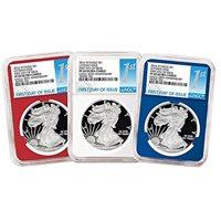 2018-W Burnished $1 American Silver Eagle 3pc Set NGC MS70 Black ER Label Red W