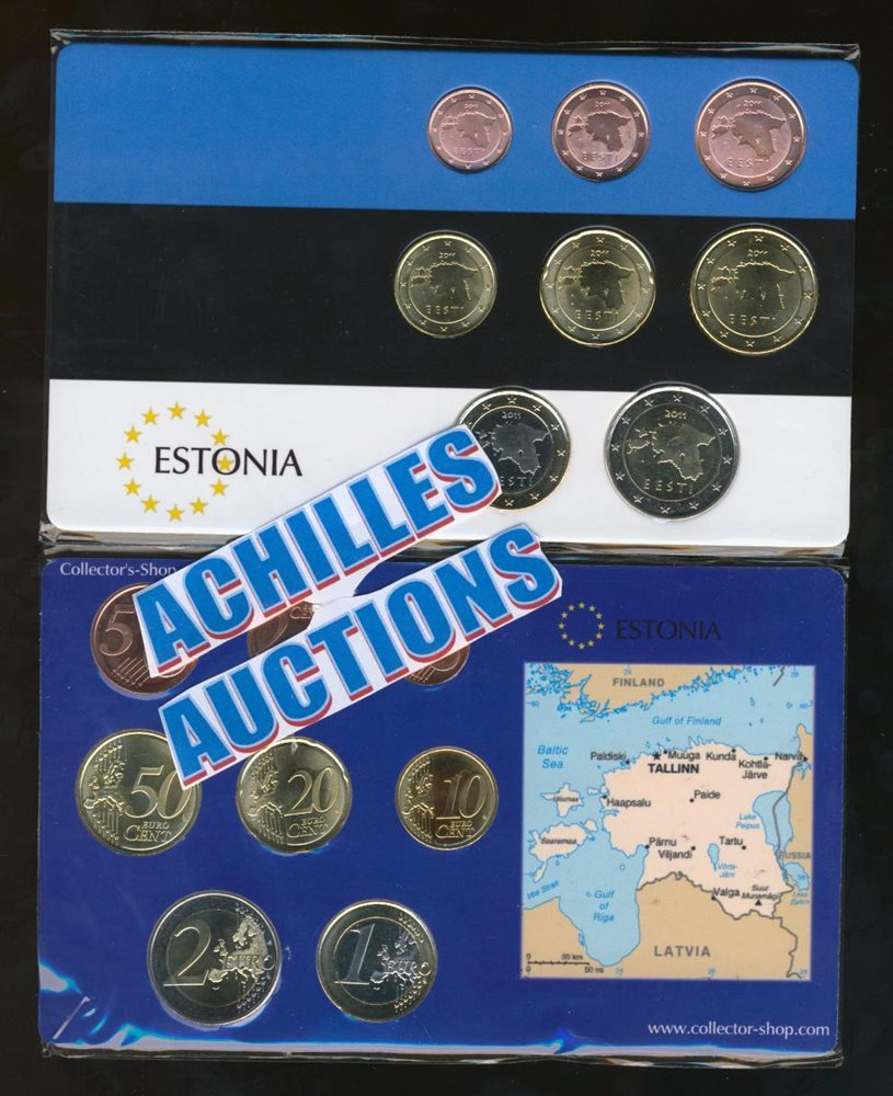 Euro Coins of ESTONIA 2011 UNC, Complete set of 8 values (1 cent to 2  euros)