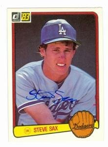 Steve Sax Autographed Baseball Card Los Angeles Dodgers 1983 Donruss 336